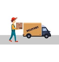 Delivery Man with a Box and Truck vector image