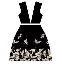 design dresses with japanese white cranes vector image