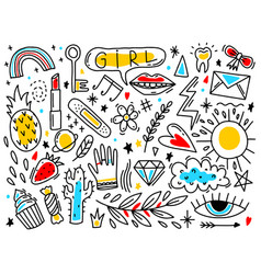 Doodle set element girl hand drawn style naive vector
