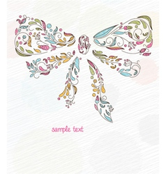 Doodles background with bow made of floral vector