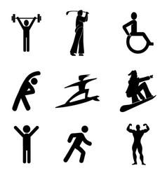 Exercises gymnast walk icon symbols set vector