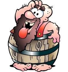 Fat man in barrel vector