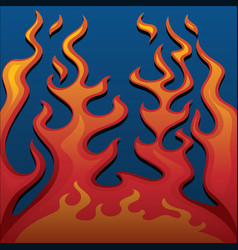 fire classic style flames on blue background vector image