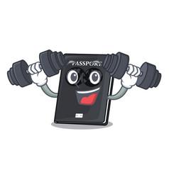 Fitness black passport in a cartoon bag vector