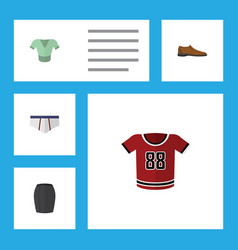 flat icon garment set of stylish apparel t-shirt vector image