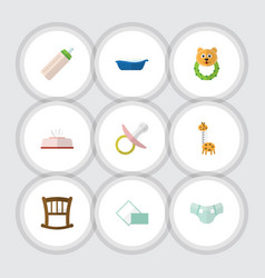 flat icon kid set of napkin bathtub tissue and vector image