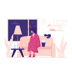 flu and sickness concept with sick woman having vector image