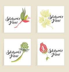 Four square cards hand drawn creative flowers vector