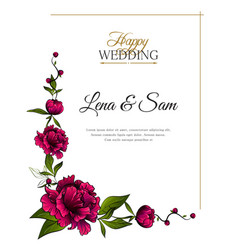 frame purple peony flowers with words happy vector image