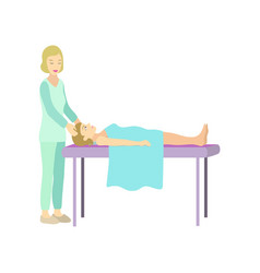 girl relaxes in spa salon with massage head vector image
