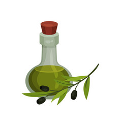 glass bottle with olive oil vector image