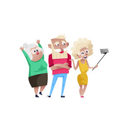 Group of smiling mature people doing selfie vector