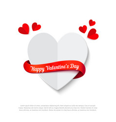 happy valentines day heart with ribbon realistic vector image