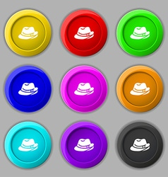 hat icon sign symbol on nine round colourful vector image