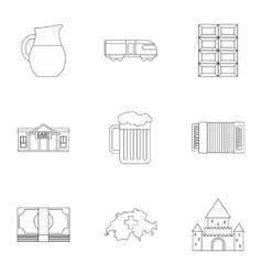 Holiday in Switzerland icons set outline style vector