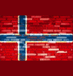 iceland flag painted on brick wall background vector image