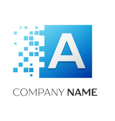 Letter a logo symbol in the colorful square with vector