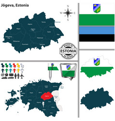 Map of jogeva estonia vector