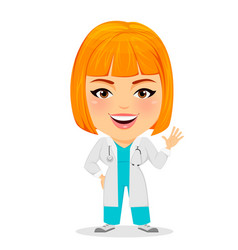 medical doctor woman saying hello funny cartoon vector image