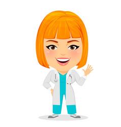 medical doctor woman saying hello funny cartoon vector image