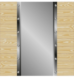 Metallic background with wooden planks vector