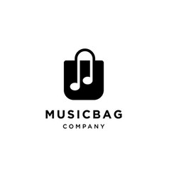music notes with bag icon logo vector image