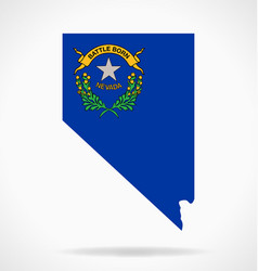Nevada nv map shape with state flag vector