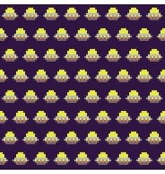 Old school pixel art style ufo arcade game vector image