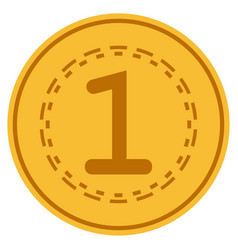 One gold coin vector