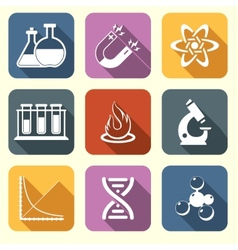 Physics science icons flat vector