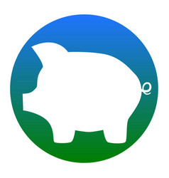 pig money bank sign white icon in bluish vector image