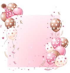 Pink birthday card vector