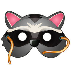 Raccoon mask on face in cartoon style vector