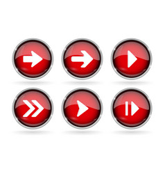 Red next buttons with chrome frame round glass vector