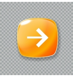 Right arrow icon Glossy orange button vector