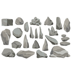 rocks and stones single or piled for damage and vector image