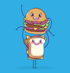 Sandwich and hamburger kawaii cartoons vector