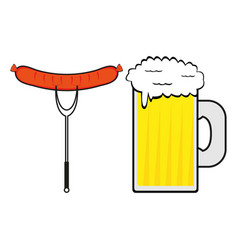 Sausage and a mug beer vector