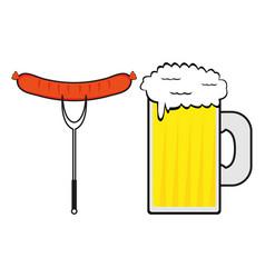Sausage and a mug of beer vector