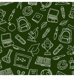 School seamless pattern with hand drawn icons vector