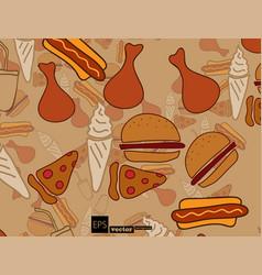 Seamless food pattern sausage hamburger cheese vector