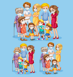 Set family member wearing mask vector