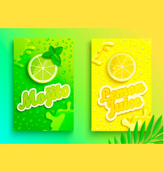 set of fresh lemon and mojito juices vector image