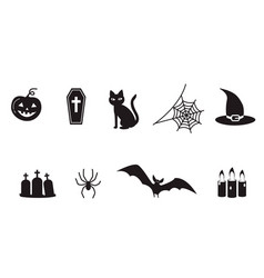 set of halloween icon symbols spider web spooky vector image