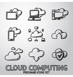 Set of handdrawn Cloud Computing icons vector
