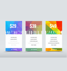 set of price tables for the website and stores vector image