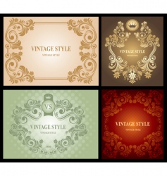 Set of vintage floral frame vector