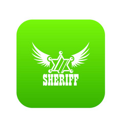 Sheriff icon green vector