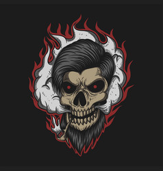 skull man smoke vector image