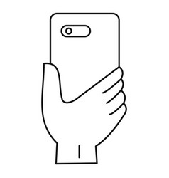 smartphone hand icon outline style vector image